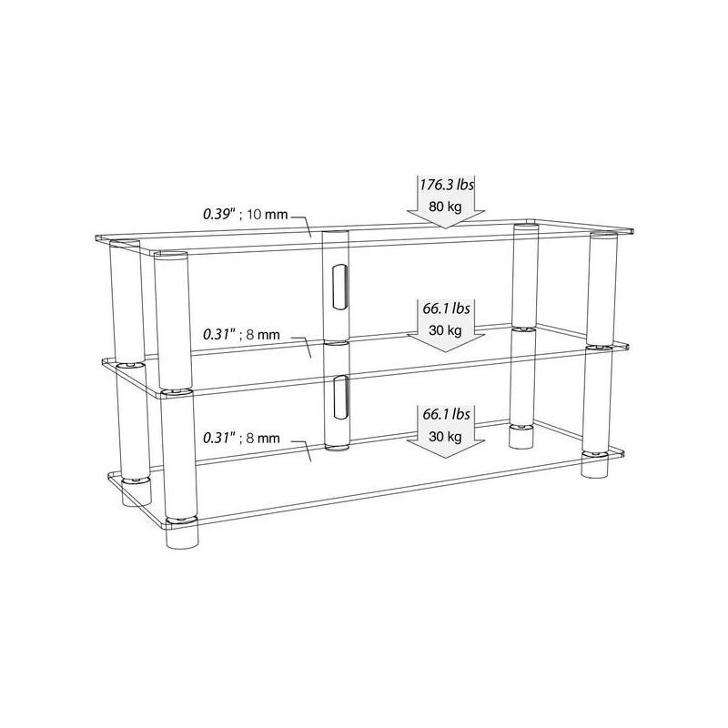 Norstone design epur 3 meuble tv vid o meubles a v for Meuble tv alu brosse