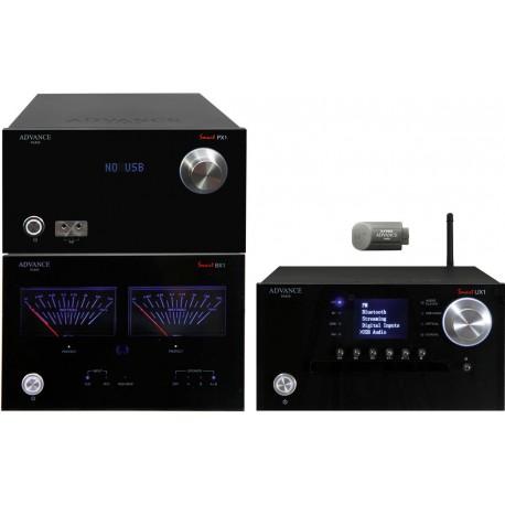 advance paris pack px1 + bx1 + ux1 + xftb02 noir ampli de puissance + preampli + lecteur reseau + clef bluetooth