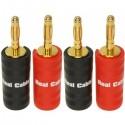 Real Cable B6932 lot de 4  fiches bananes plaquées or   diamètre max 10mm